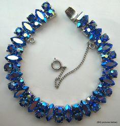 Vintage Bracelet Signed B David Blue Aurora Borealis Rhinestone Silver Tone Jew | eBay