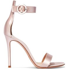 Gianvito Rossi Portofino satin sandals (2.260 BRL) ❤ liked on Polyvore featuring shoes, sandals, heels, sapatos, baby pink, buckle strap sandals, heeled sandals, bride sandals, high heel shoes and bridal sandals