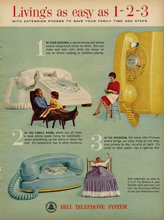 Bell Telephones. My mother had the blue one and my grandma had the yellow....they rang LOUD!