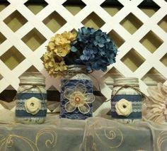 Rustic Mason Jars  Denim and Lace  Mason by ElsiesCreativeDesign