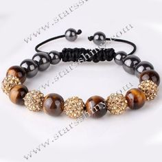 Shamballa Bracelet, 10mm round topaz clay rhinestone & tiger eye beads, adjustable        Item No.:SN014730      Shop price: US$5.94 - US$6.99