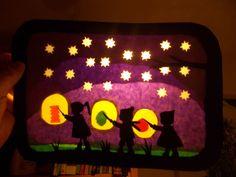 Jahreszeitentisch - Waldorf Transparentbild Laternenzug - ein Designerstück von Puppenprofi bei DaWanda