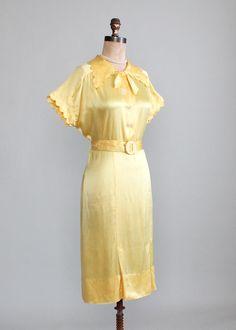 Vintage 1930s Jonquil Liquid Satin Dress