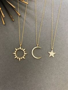 Celestial Sun Moon Necklace Sun necklace Moon necklace Moon and Sun Dainty Minimalist Jewelry Moon and sun gift for her Dainty Jewelry, Cute Jewelry, Jewelry Accessories, Women Jewelry, Jewelry Design, Silver Jewelry, Dainty Necklace, Jewelry Ideas, Jewelry Quotes