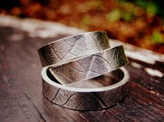 This band with leaf imprints is our favorite for the groom, handmade by Magic in the Grass…