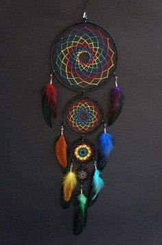 Items similar to Rainbow of the night four piece dream catcher / Mandala / Gift . - Items similar to Rainbow of the night four piece dream catcher / Mandala / Gift for her / Decoratio - Dream Catcher Patterns, Dream Catcher Mandala, Dream Catcher Decor, Making Dream Catchers, Dream Catcher Mobile, Dreamcatchers, Dreamcatcher Wallpaper, Beautiful Dream Catchers, Dream Catcher Native American