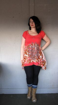Lagenlook Romantic dress upcycled clothing by lillienoradrygoods, $75.50