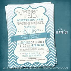 Something Blue. Ombré CHEVRON Bridal Wedding Shower Invite. By Tipsy Graphics.