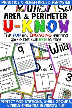 Students love playing U-Know games for fun REVIEW of area and perimeter or for test prep. It's a perfect activity for any small group or station, and great for early finishers. Area and Perimeter U-Know is a fun learning game played similar to UNO except if you get an answer wrong, you have to draw two! Students will beg to practice finding area and perimeter in this way! Available in MANY other topics, too!