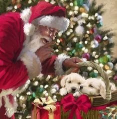 Santa And Puppies
