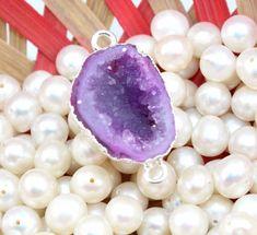 An-3301 Sale! Purple Geode Druzy Sllver Plated Handmade Connector Jewelry Making #Handmade