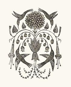 "swan-bones: "" Hummingbird Blooms block print, 2017 by Kelly Louise Judd "" Linocut Prints, Art Prints, Block Prints, Hummingbird Illustration, Arte Horror, Ex Libris, Botanical Prints, Graphic Illustration, Art Inspo"