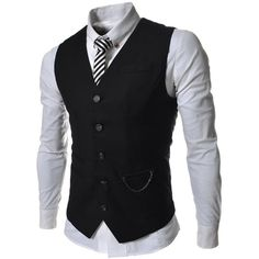 SVE TheLees Mens slim fit chain point 3 button vest ($34) ❤ liked on Polyvore featuring mens, men's clothing, men's outerwear, men's vests, men, guy, menswear и shirts