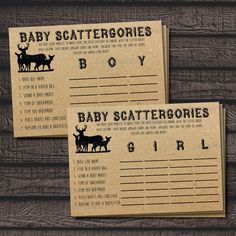 Woodland Baby Shower Scattergories Printable Game from Cara Co Printables on Etsy