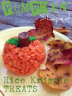Pumpkin Shaped Rice Krispie Treats for Halloween! Fast, easy and fun :)  Sincerely, Paula: Too Cute to Spook ...