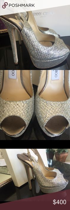 Jimmy Choo Glitter Fabric Champagne Sz 8 or 38 Excellent condition - w box - purchased at Jimmy Choo store Shoes Heels