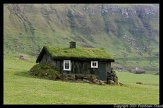Typical turf-roofed house in the village of Trollanes, Faroe Islands