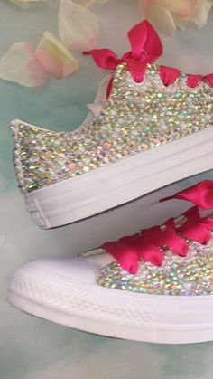 Crystals By Nicole- Converse Prom Bridal Exotic Shoes & Sneakers Sparkle Converse, Sparkle Shoes, Bling Shoes, Bling Bling, Wedding Tennis Shoes, Converse Wedding Shoes, Wedding Sneakers, Bridesmaid Shoes Flat, Girls Glitter Shoes
