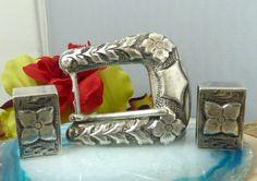 Vtg Plamex Mexico Sterling Silver Ranger Style Belt Buckle w/ 2 Belt Keepers!! #PlamexMexico #Ranger