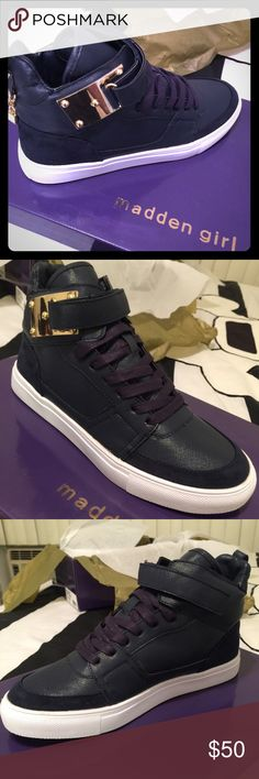 *ON SALE NOW* Madden Girl Adorree Sneakers (Navy) Brand new in box. Cute navy blue sneakers with metal hardware with lock and key charm. Madden Girl Shoes Sneakers