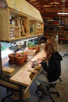 Ideas Craft Table On Wheels Studio Spaces Woodworking Bench, Woodworking Shop, Woodworking Crafts, Diy Workbench, Industrial Workbench, Workbench Designs, Woodworking Patterns, Woodworking Classes, Workshop Studio