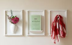 Framed Objects by thinkofthe: These white frames with vase, shelf, or hook turn ordinary objects into works of art. $65/ea #Frames #Home_Ecor