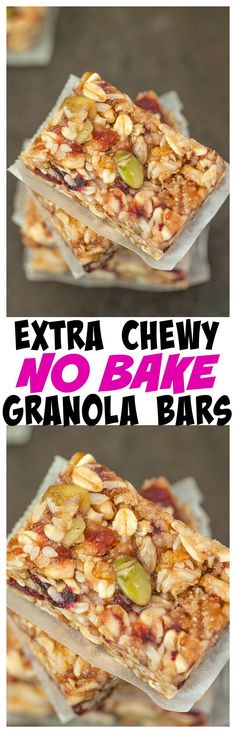 Extra Chewy and customisable no bake granola bars which take 5 minutes to whip up- Gluten Free and vegan!