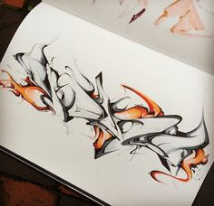 3D Graffiti : Amazing Drawing Sketches BlackBook Graffiti 3D Wildstyle On Paper…