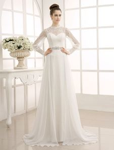 Ivory Sweep Chiffon Wedding Dress with Beaded Lace. Grab substantial discounts up to 70% Off at Milanoo using Coupon & Promo Codes.