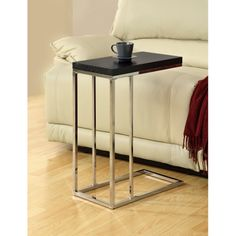 Furnituremaxx Cappuccino Hollow-Core / Chrome Metal Accent Table : End Tables