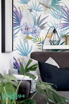 Bismarkia and Hibiscus Wallpaper - Removable Wallpaper - Plumeria Wallpaper - Wall Sticker - Parrot Wall Decal - Self Adhesive Wallpaper