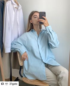 Polo Shirt Girl, Pant Shirt, Pants, Oversized Shirt Outfit, Ootd Fashion, Shirts For Girls, Personal Style, Blue And White, Street Style