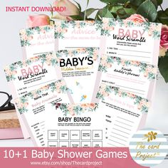 Baby Shower Thank You, Baby Shower Games, Digital Invitations, Baby Shower Invitations, Happy Birthday Template, Baby Word Scramble, Baby Shower Cupcake Toppers, Baby Words, Virtual Baby Shower