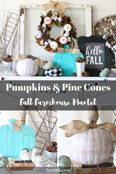 Transition Your Home Decor To Fall With This Farmhouse Mantel Decor Idea.  Rustic Elements Paired
