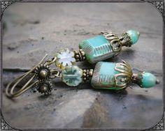 BOHO earrings with turquoise bohmemian glass  beads BOHO Ohrringe mit türkisen böhmischen Glasperlen