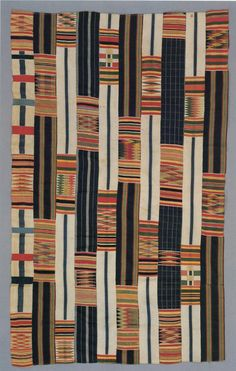 "Nineteenth century kente from the Smithsonian Lamb collection. Note the asymmetric layout of the pattern blocks. Silk weft patterning on cotton ground. Scanned from P. Gilfoy ""Patterns of Life"" (1987)."