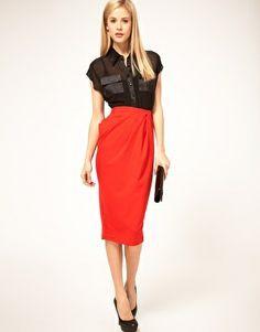 Cute Pencil Skirt Outfits | Enlarge ASOS Twist Front Ponti Pencil Skirt | CUTE OUTFITS