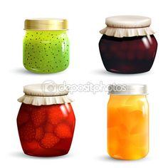 sada sklenice džemu — Stock ilustrace #70842221