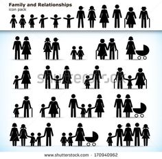Editable set of family pictogram with children, parents and grandparents