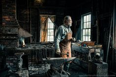 The Blacksmith Environmental Portrait 19th by garyhellerphotograph, $29.00