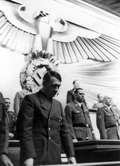 Hitler during the commemoration of the fallen troops in France at the Reichstag in the Krolloper in Berlin - 19.07.1940. (via axishistory)