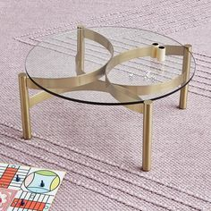 New Gus* Modern Compass Coffee Table! Contemporary brass and glass coffee table! - Tuck Studio