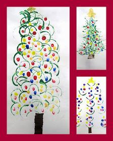 The holiday excitement begins... The curved lines of the trees were printed from toilet paper rolls cut in half and the lights wer...