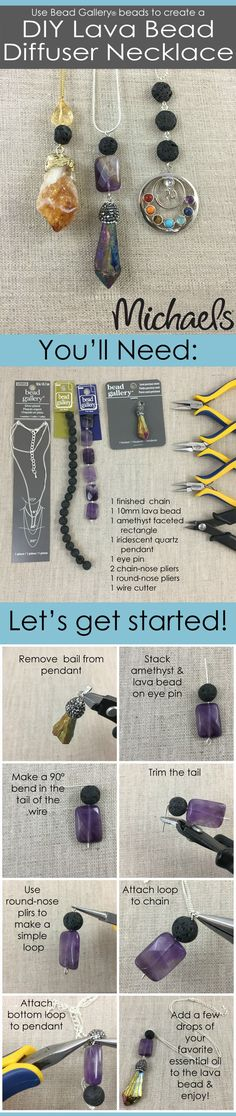 Use Bead Gallery beads to create these easy DIY Lava Bead Diffuser Necklaces (Hobbies To Try Essential Oils) Homemade Jewelry, Diy Jewelry Making, Jewelry Making Supplies, Diffuser Jewelry, Diffuser Necklace, Jewelry Clasps, Beaded Jewelry, Jewelry Gifts, Gold Jewelry
