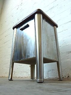 RARE 1920s Art Deco Industrial Chic Storage Stool Chair Vintage Retro Side Table | eBay