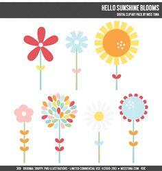 Hello Sunshine Blooms Digital Clipart Clip Art by MissTiina, $5.00