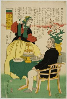Utagawa Yoshikazu: Russian Couple (Oroshiajin), from an untitled series of foreigners with their flags, published by Izumiya Ichibei, Late Edo period, tenth month of 1861 - Harvard Art Museum