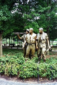 The Three Soldiers is a bronze statue on the Washington, D., National Mall commemorating the Vietnam War. It was designed to complement the Vietnam Veterans Memorial Wall. Gi Joe, Hampshire, Wyoming, Newport, Statues, Places To Travel, Places To See, Travel Destinations, Street Art
