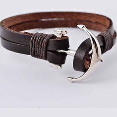 Punk 22cm Men's Silver Alloy Anchor Leather Bracelet