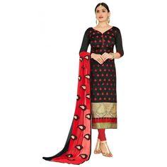 Party Wear Black & Red Salwar Suit  - FLORAL1011